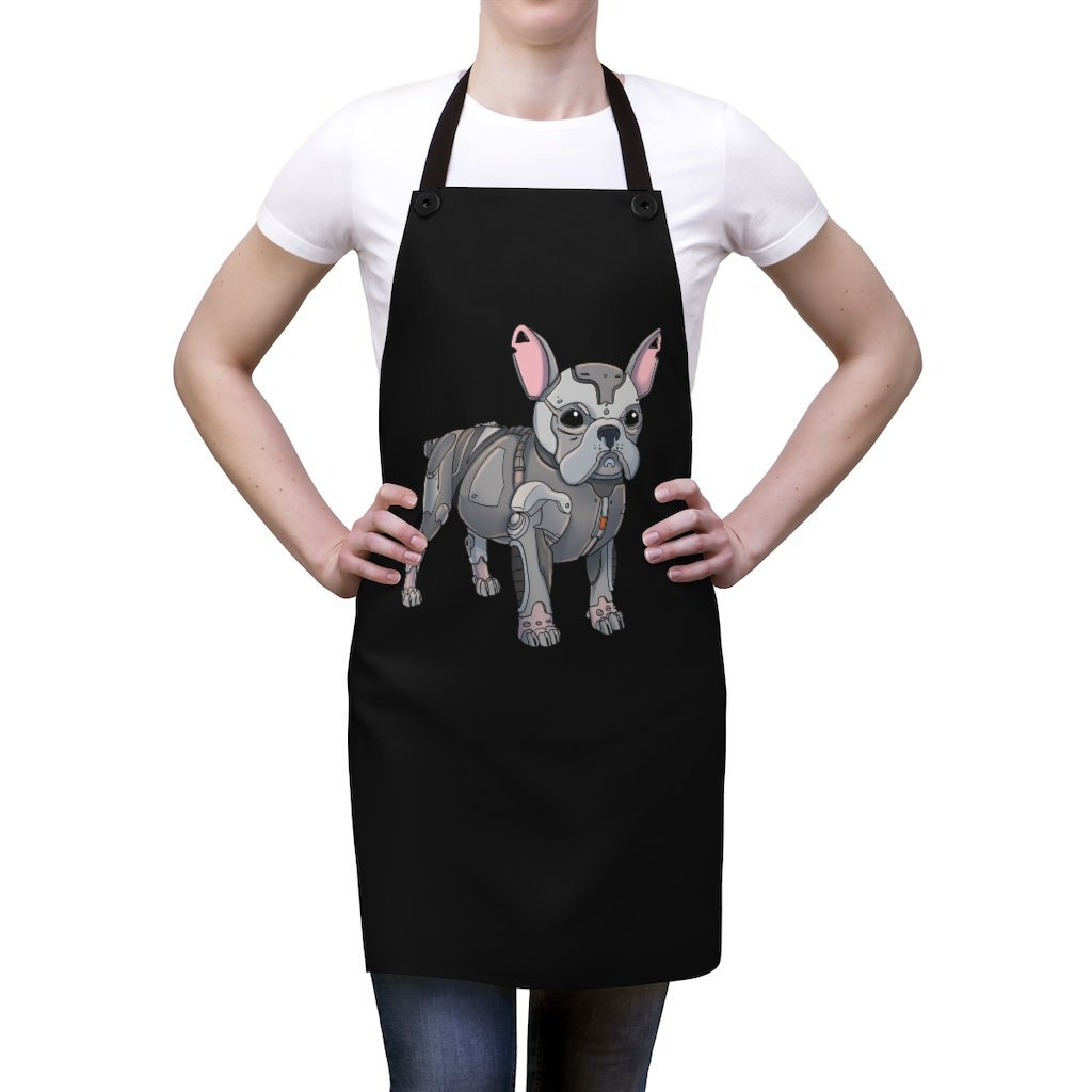 """French Bulldog Robot"" Cooking Apron Featuring Art by Dan Pearce - Dan Pearce Creative Shop"