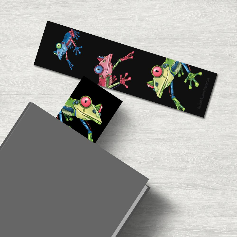 """Frog Robots"" Premium Bookmark Featuring Art by Dan Pearce - Dan Pearce Creative Shop"