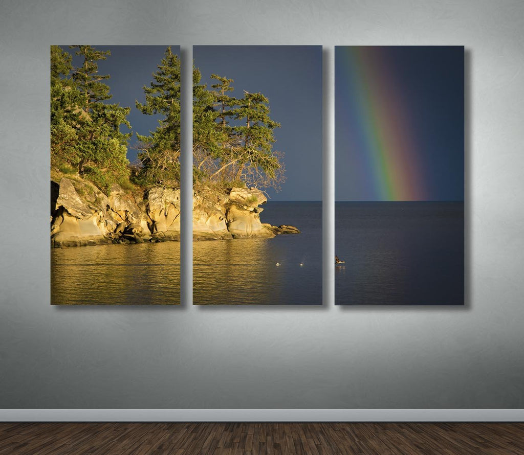Galiano Island Rainbow Scene – Multi-Canvas Wall Hanging - Dan Pearce Creative Shop