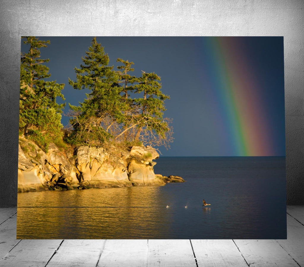 Galiano Island Rainbow Scene – Sinlge-Canvas Wall Hanging 18 x 24 - Dan Pearce Creative Shop