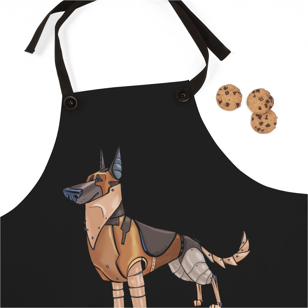"""German Shepherd Dog Robot"" Cooking Apron Featuring Art by Dan Pearce - Dan Pearce Creative Shop"