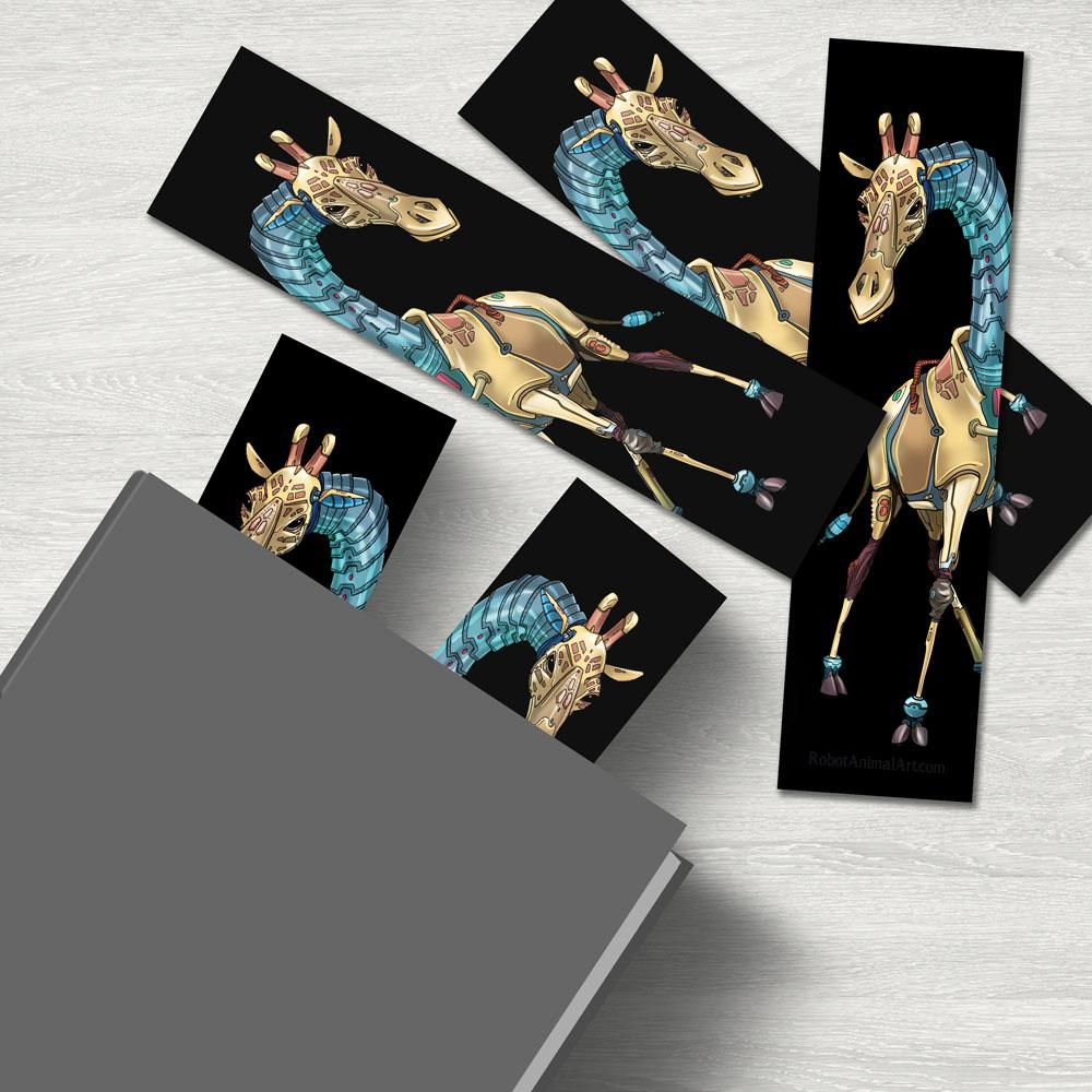 """Giraffe Robot"" Premium Bookmark Featuring Art by Dan Pearce - Dan Pearce Creative Shop"