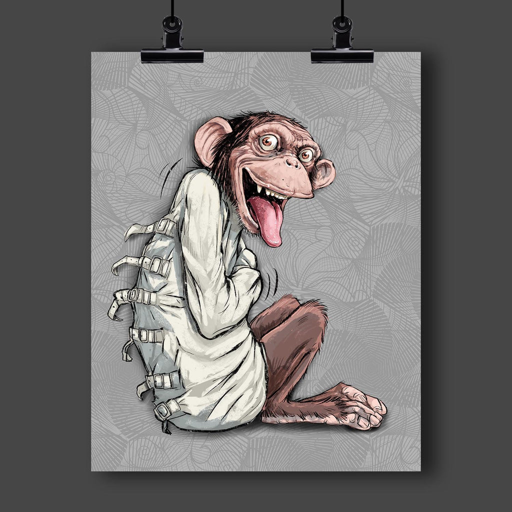 """Going Apes"" Monkey in a Straightjacket Art Print by Dan Pearce - Dan Pearce Creative Shop"