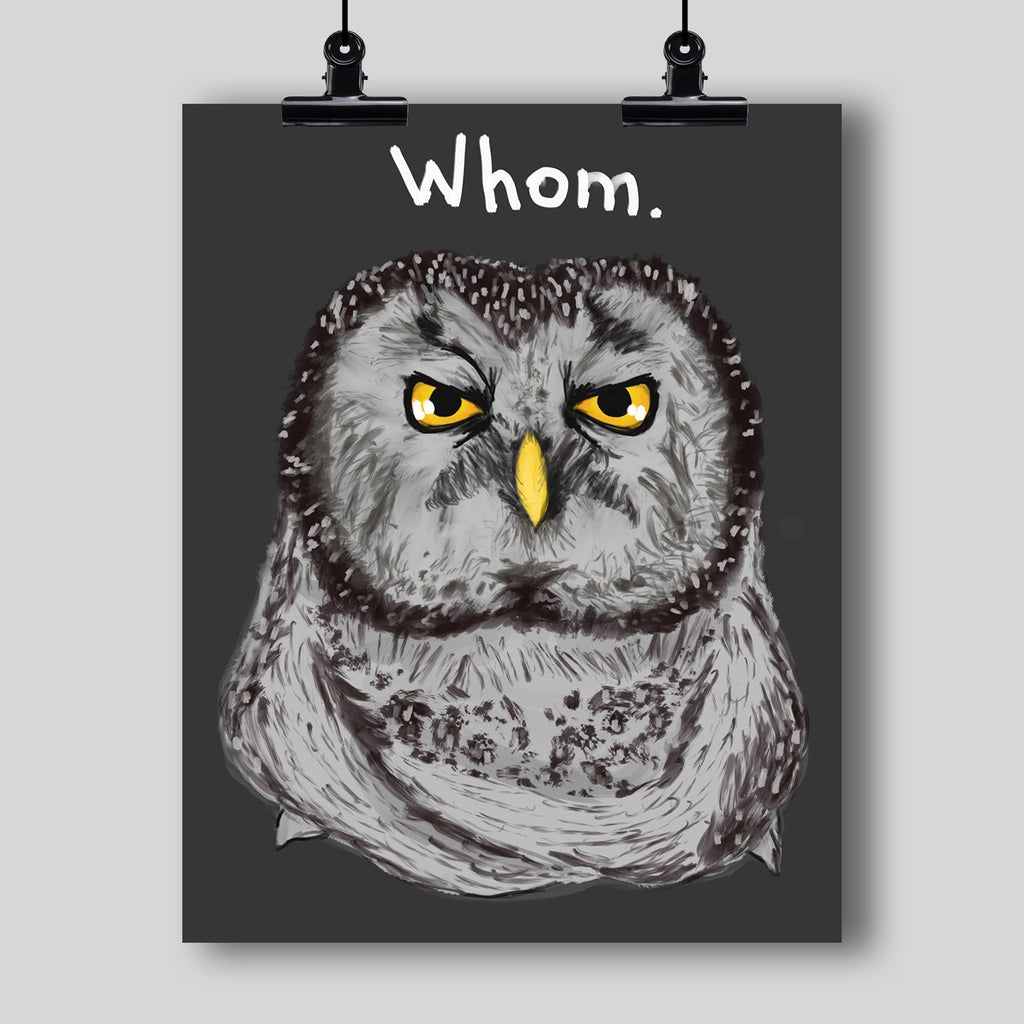 """Grammar Owl is Judging You"" Art Print - Dan Pearce Creative Shop"