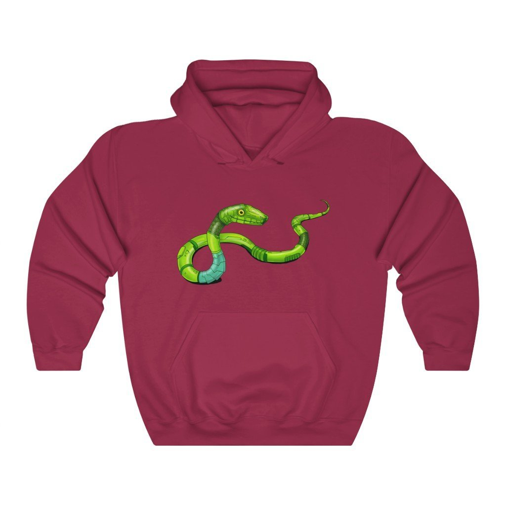 """Green Mamba Snake Robot"" Hooded Sweatshirt by Dan Pearce (Hoodie) - Dan Pearce Creative Shop"
