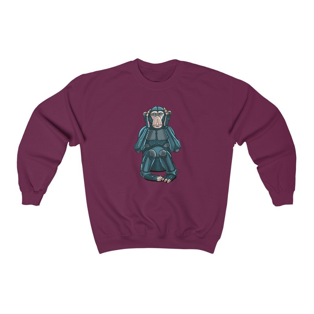 """Hear No Evil Monkey Robot"" Crewneck Premium Sweatshirt - Dan Pearce Creative Shop"