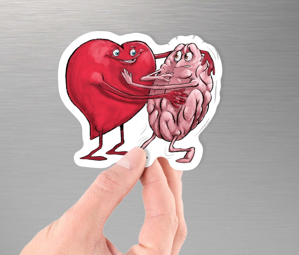 """Heart Forcing a Hug from the Mind"" Art - 3.5"" Vinyl Sticker - Dan Pearce Creative Shop"