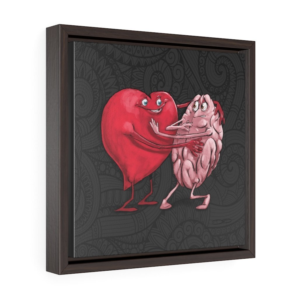 """Heart Forcing a Hug from the Mind"" Art (Square) Framed Premium Gallery Wrap Canvas - Dan Pearce Creative Shop"
