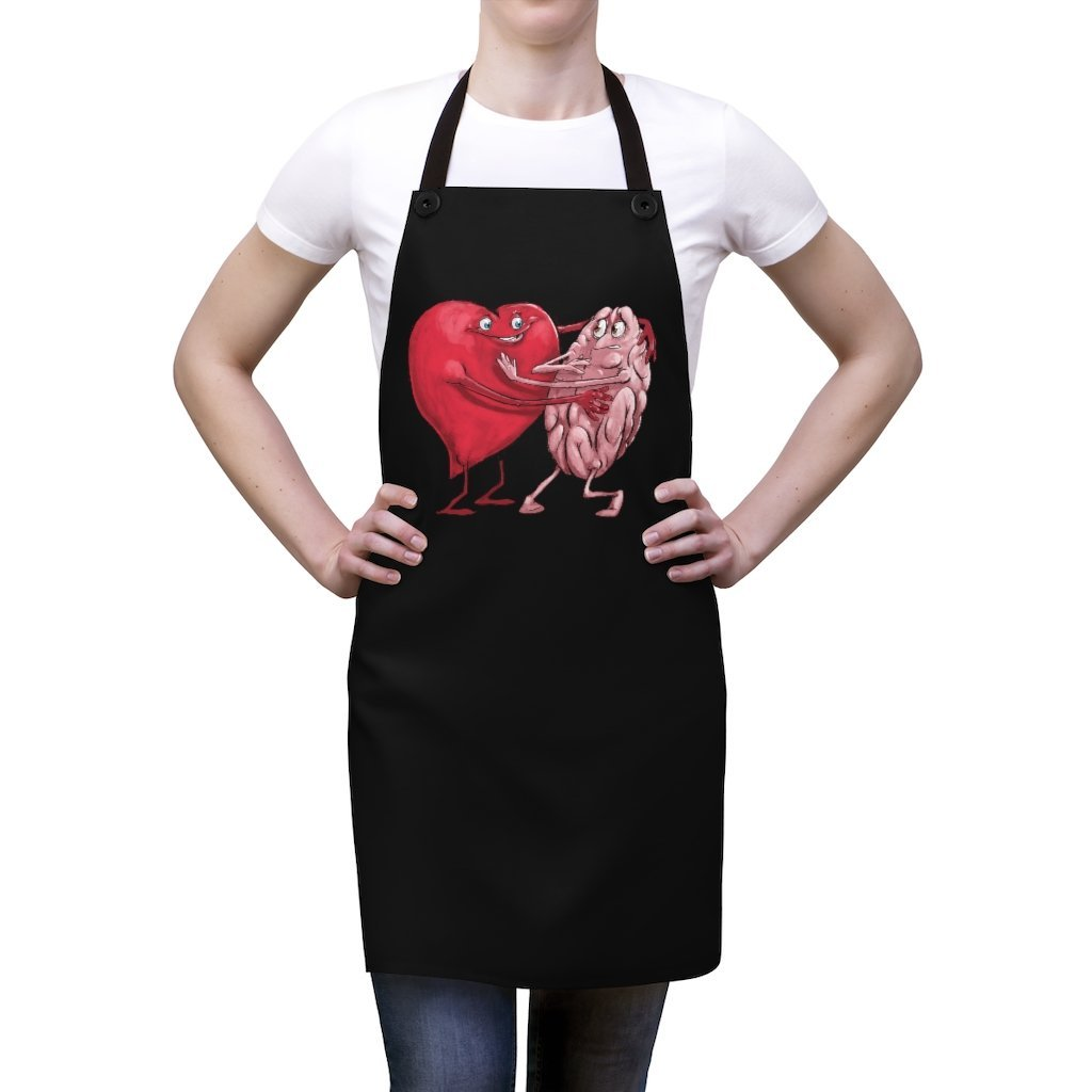 """Heart Forcing a Hug from the Mind"" Cooking Apron Featuring Art by Dan Pearce - Dan Pearce Creative Shop"