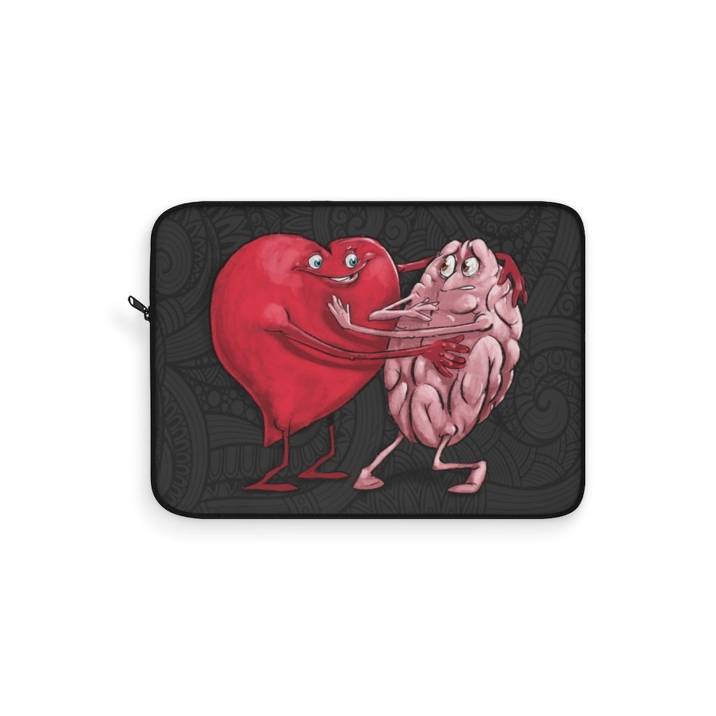 """Heart Forcing a Hug from the Mind"" Laptop Sleeve Featuring Artwork by Dan Pearce - Dan Pearce Creative Shop"