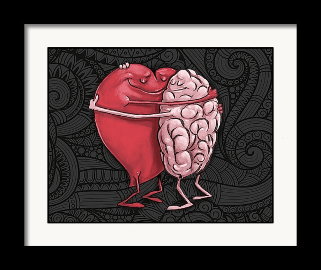 """Heart Hugging the Brain"" Art Print by Dan Pearce - Dan Pearce Creative Shop"