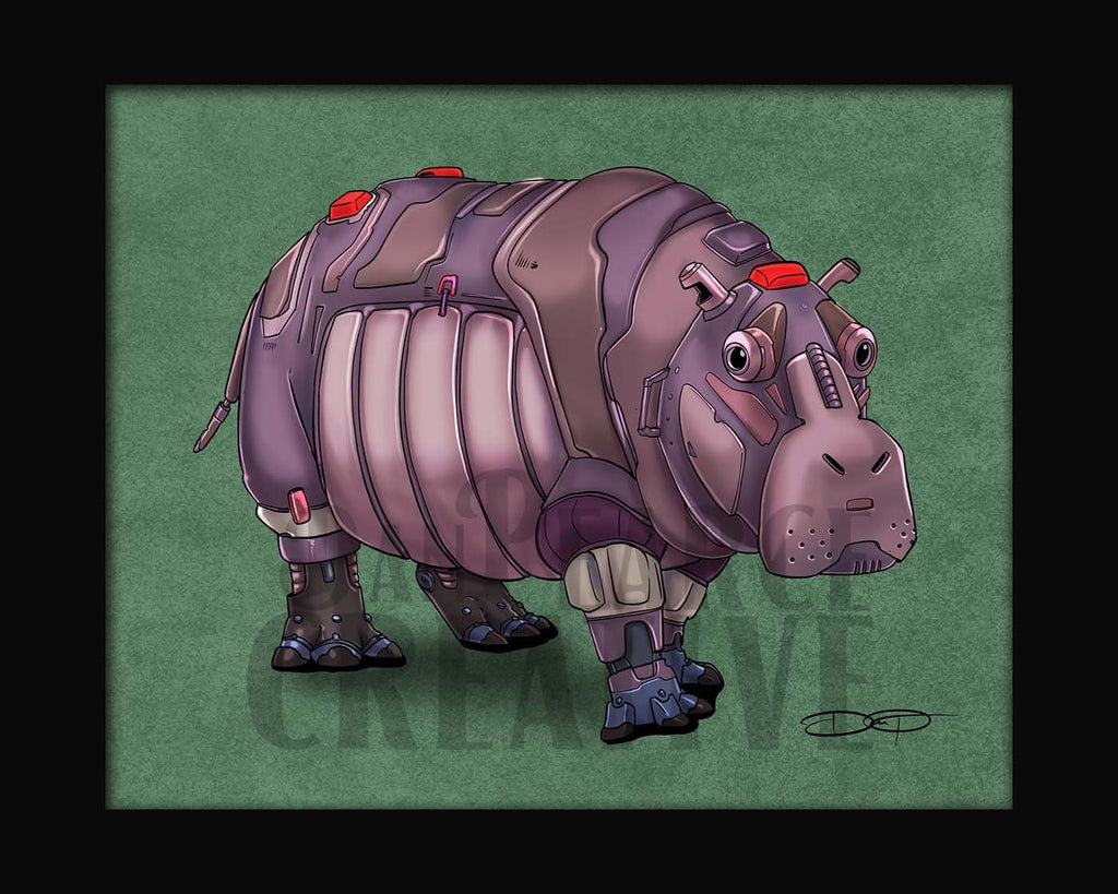 Hippo Robot Fine Art Print Created by Dan Pearce - Dan Pearce Creative Shop