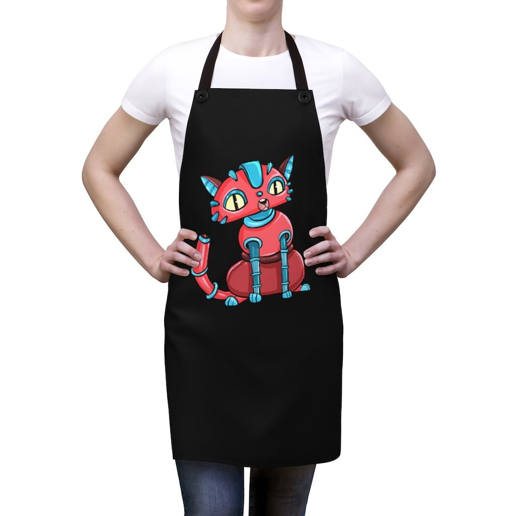 """House Cat Robot"" Cooking Apron Featuring Art by Dan Pearce - Dan Pearce Creative Shop"