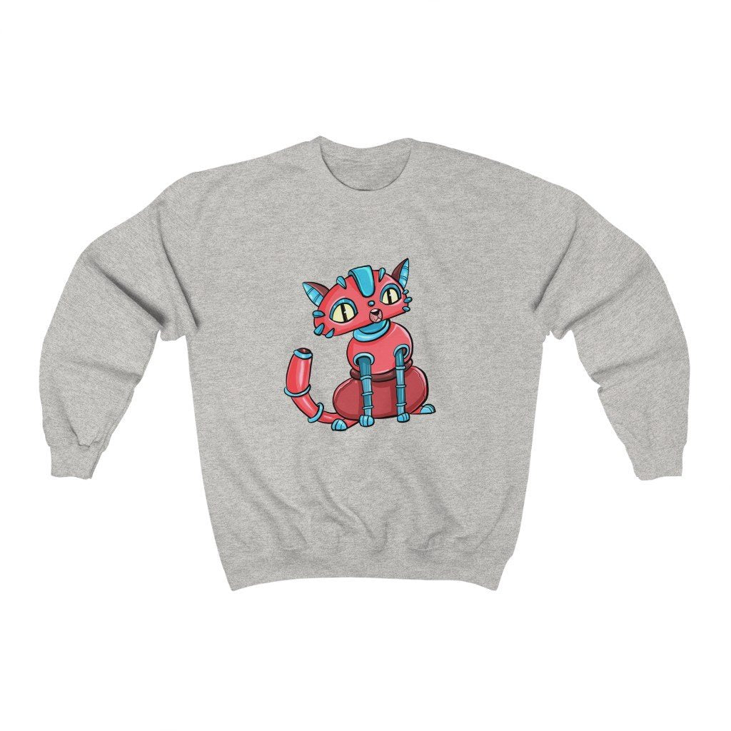 """House Cat Robot"" Crewneck Premium Sweatshirt - Dan Pearce Creative Shop"