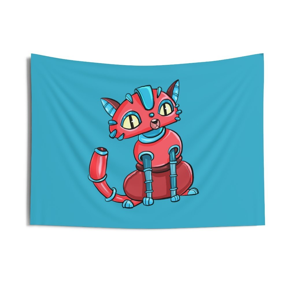 """House Cat Robot"" Indoor Wall Tapestry - Dan Pearce Creative Shop"