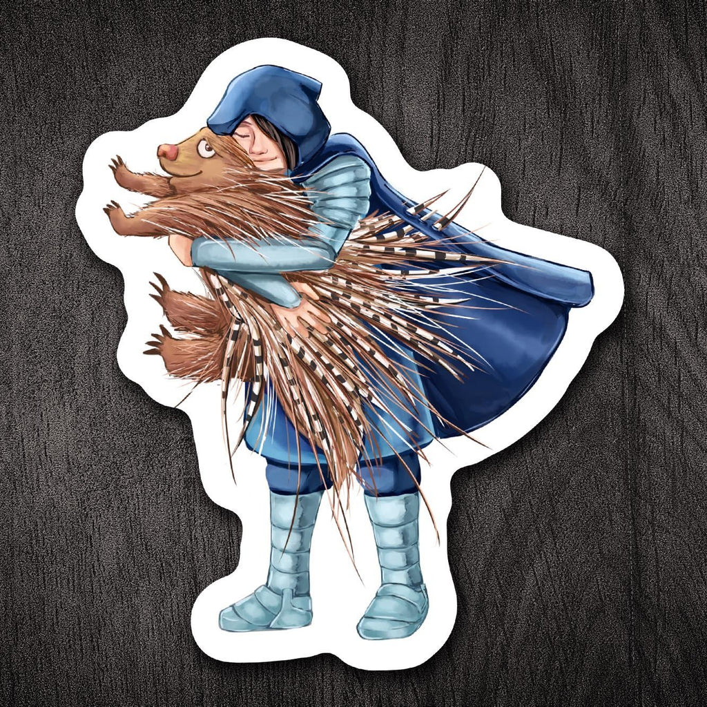 """How to Hug a Porcupine"" - 3.5"" Vinyl Sticker - Dan Pearce Creative Shop"