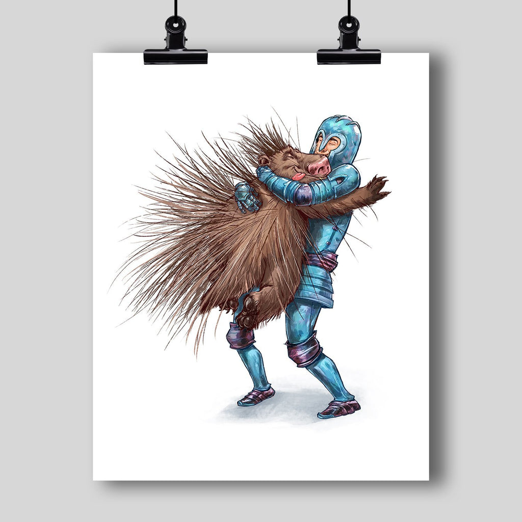 """How to Hug a Porcupine"" Art Print #1 by Dan Pearce - Dan Pearce Creative Shop"