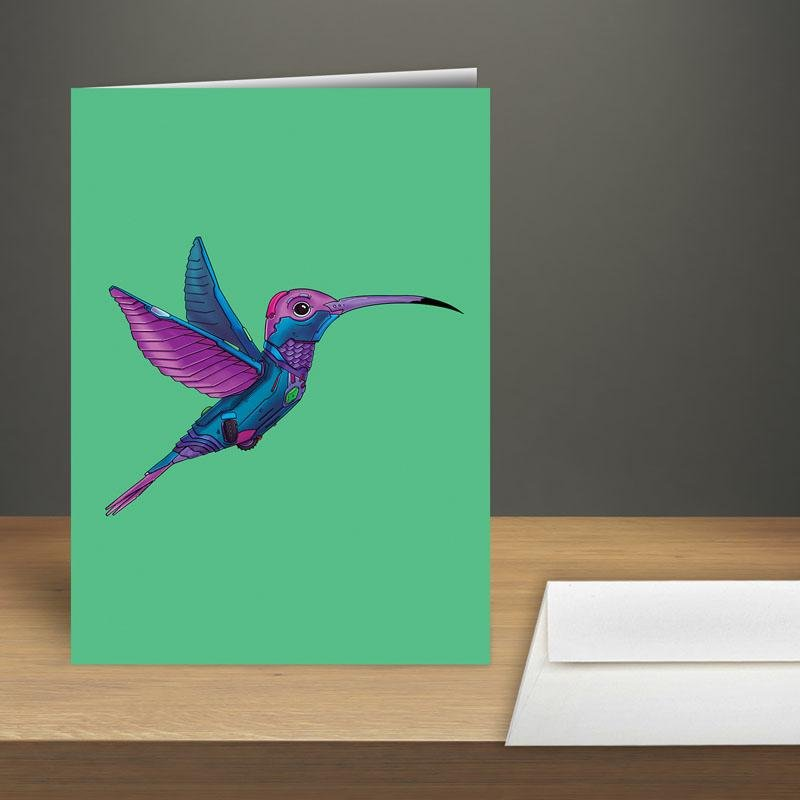 """Hummingbird Robot"" Premium Greeting Card(s) Featuring Art by Dan Pearce - Dan Pearce Creative Shop"