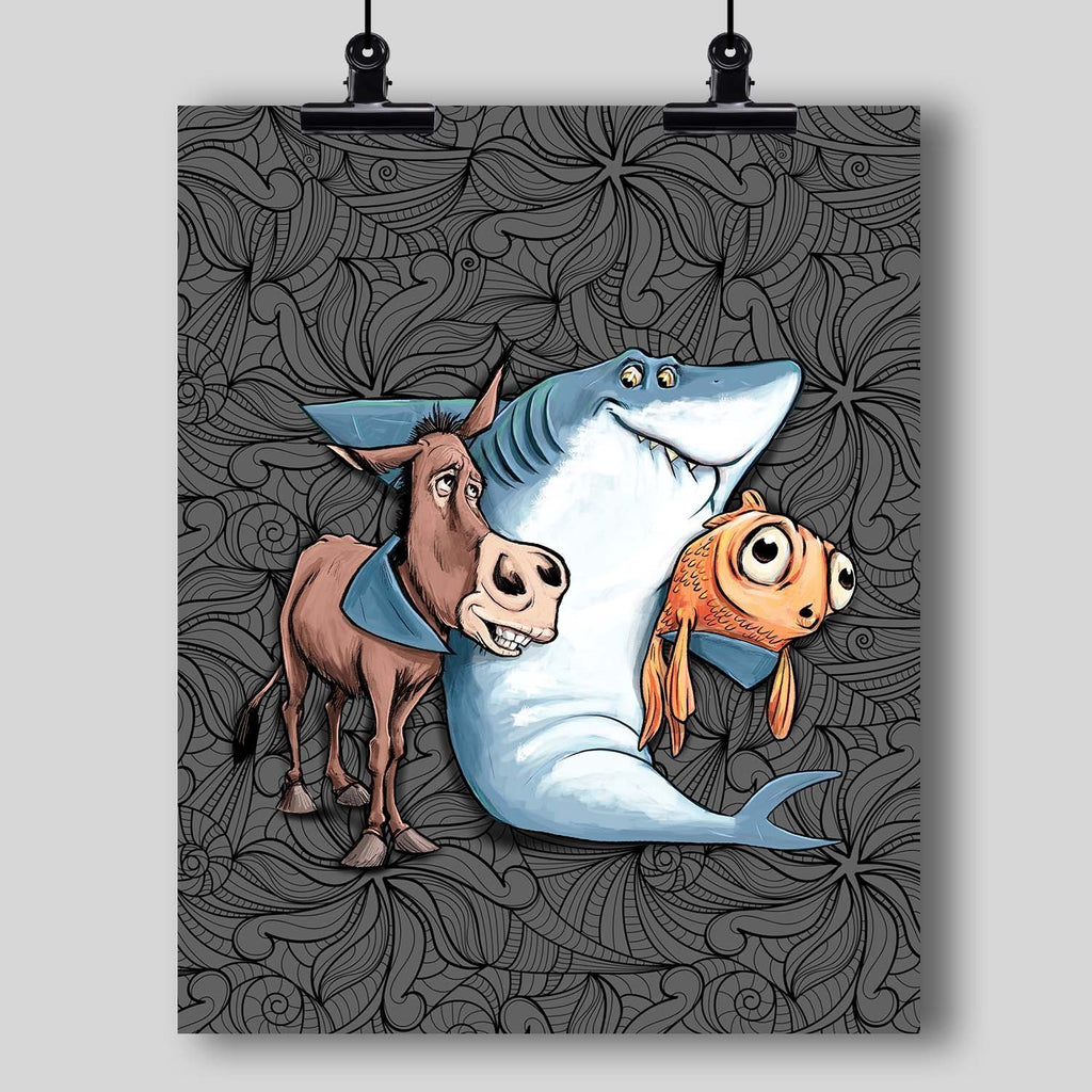 """Keep Your Enemies Closer"" - Donkey, Fish, Shark Poker Art Print - Dan Pearce Creative Shop"