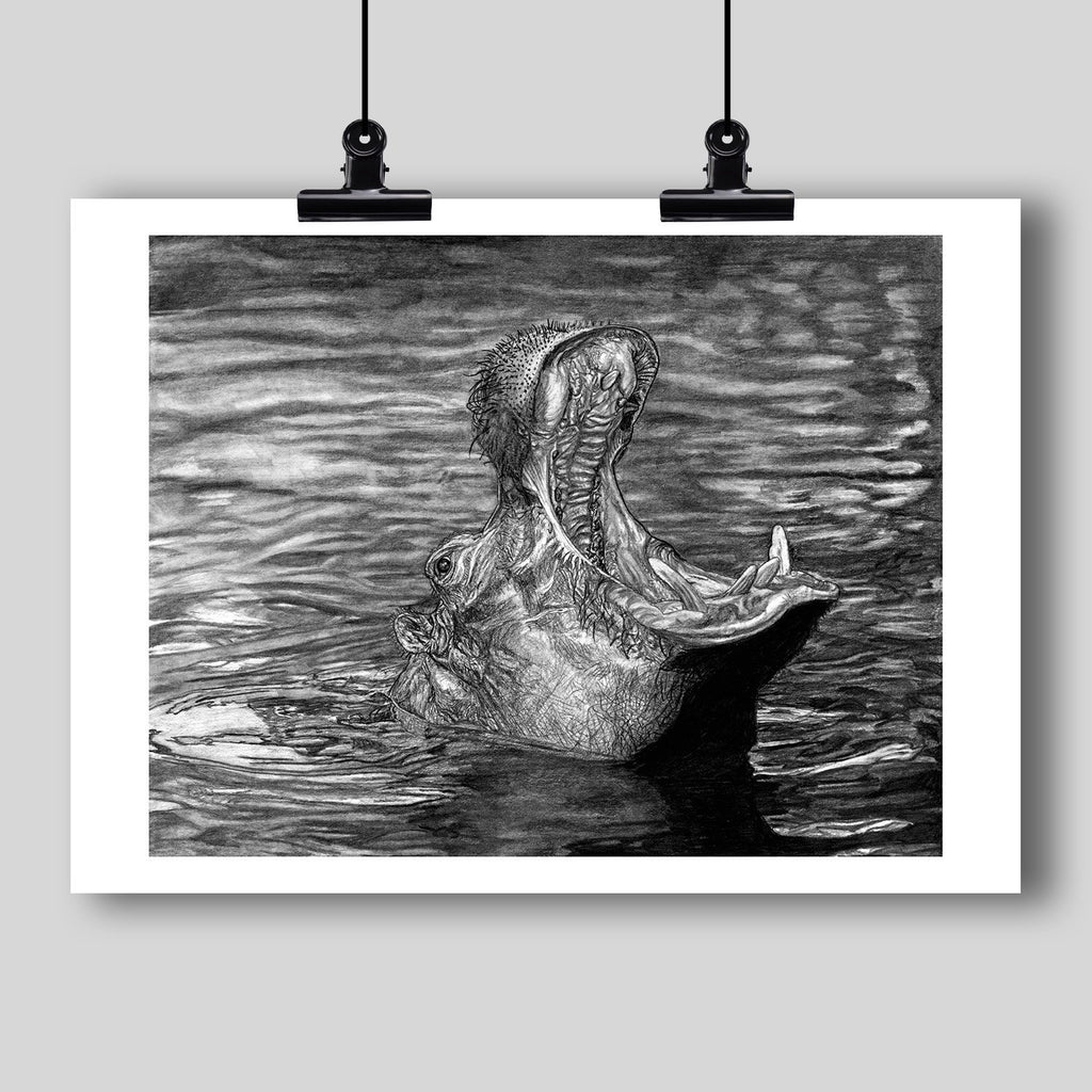 """Keeper of the Swamp"" Fine Art Hippopotamus Print - Dan Pearce Creative Shop"