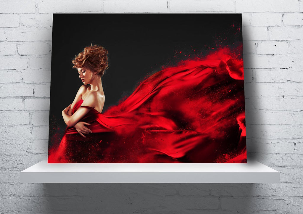 """Lady in Red"" Full Panel Canvas Wall Hanging (Design #1) - 18"" x 24"" - Dan Pearce Creative Shop"