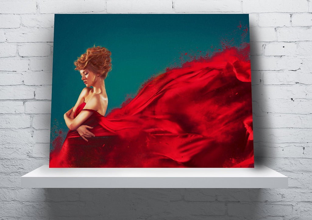 """Lady in Red"" Full Panel Canvas Wall Hanging (Design #2) - 18"" x 24"" - Dan Pearce Creative Shop"