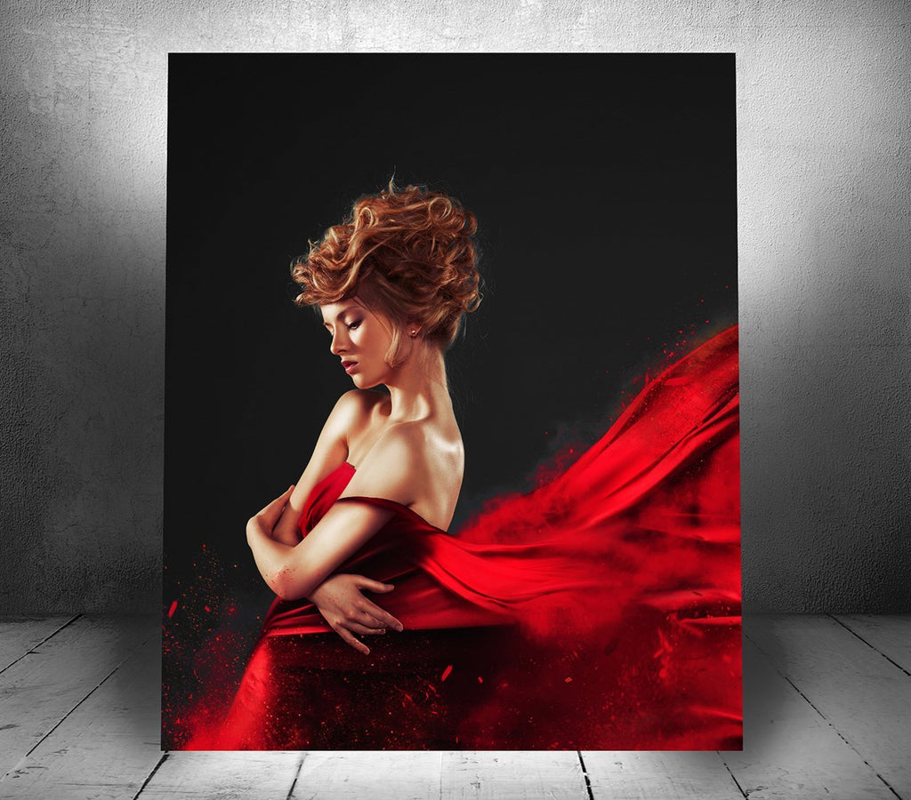 """Lady in Red"" Single Canvas Wall Hanging 20"" x 24"" - Dan Pearce Creative Shop"
