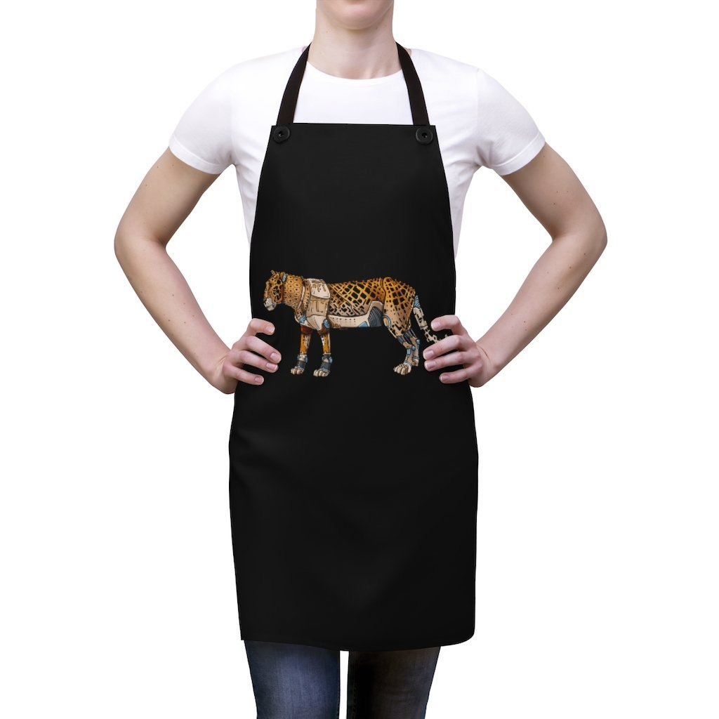 """Leopard Robot"" Cooking Apron Featuring Art by Dan Pearce - Dan Pearce Creative Shop"