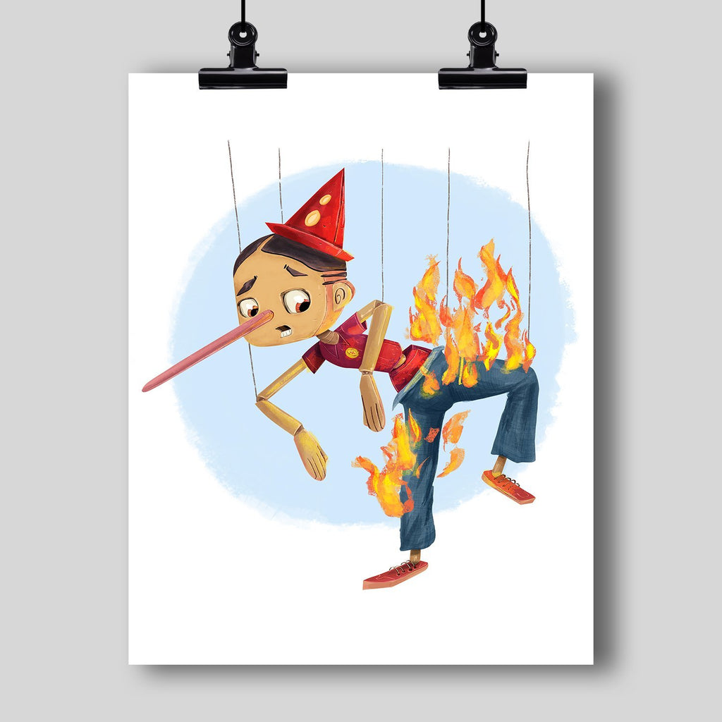 """Liar Liar Pants on Fire"" Art Print by Dan Pearce - Dan Pearce Creative Shop"