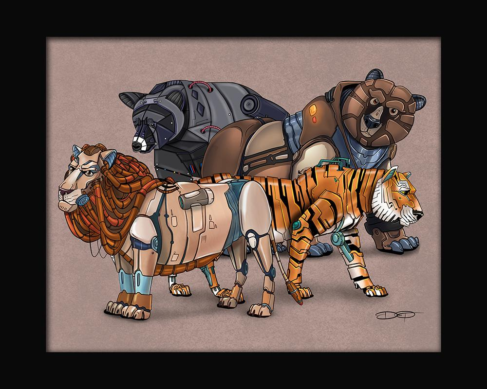 """Lions and Tigers and Bears"" Robot Animal Collage #5 Fine Art Print Created by Dan Pearce - Dan Pearce Creative Shop"
