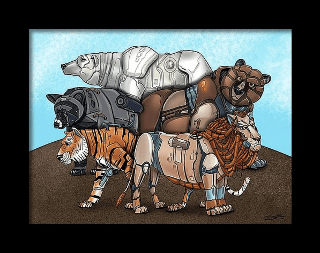 """Lions and Tigers and Bears Robot Animals"" (Version 2) Fine Art Print Created by Dan Pearce - Dan Pearce Creative Shop"