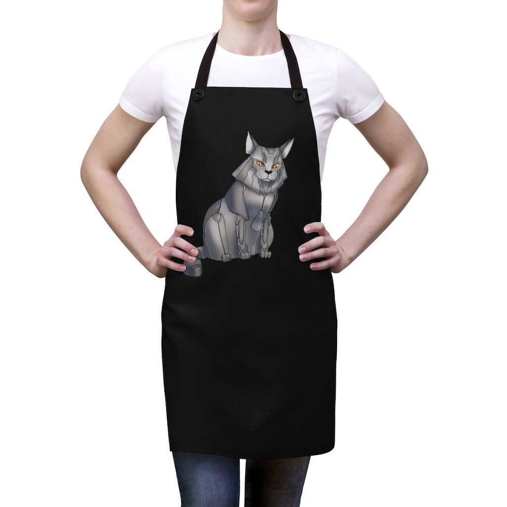 """Maine Coon Cat Robot"" Cooking Apron Featuring Art by Dan Pearce - Dan Pearce Creative Shop"