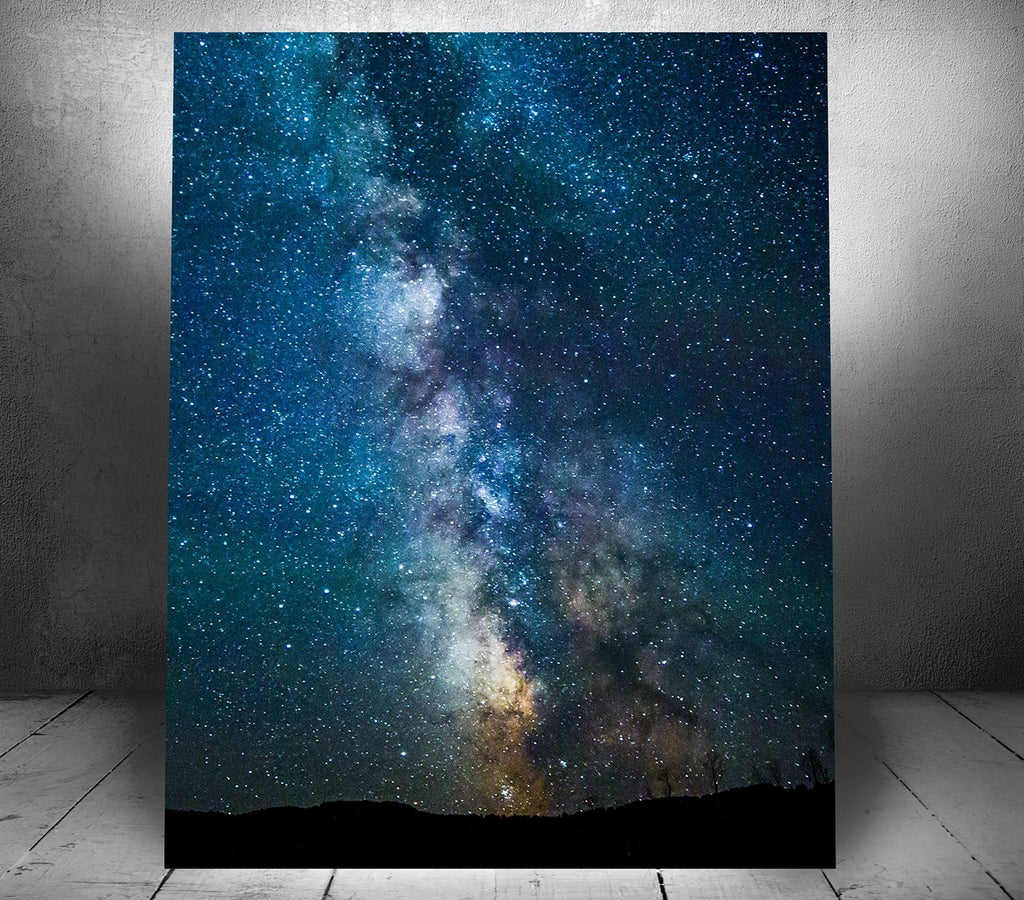 """Milky Way Galaxy Over Yellowstone"" Single Canvas Wall Hanging 16"" x 20"" - Dan Pearce Creative Shop"