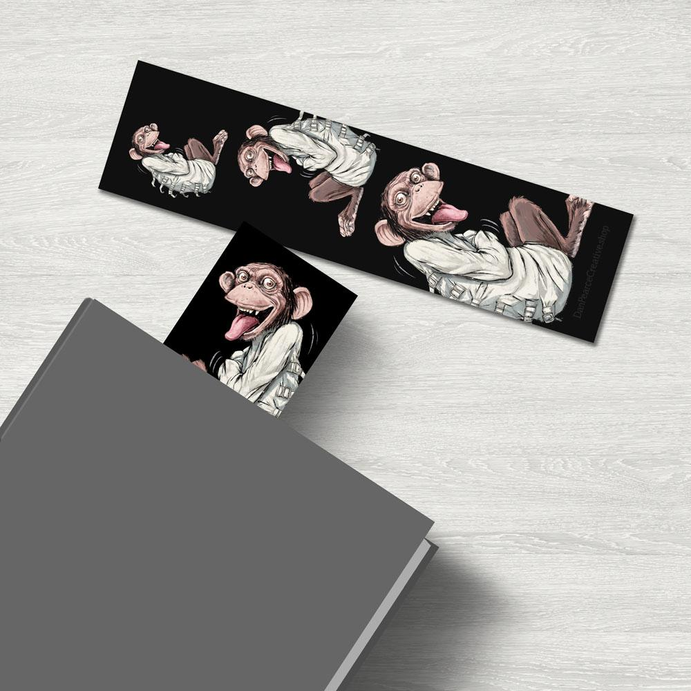"""Monkey In A Straightjacket"" Premium Bookmark Featuring Art by Dan Pearce - Dan Pearce Creative Shop"