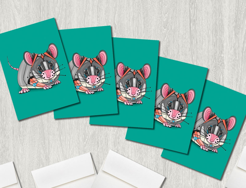"""Mouse Robot"" Premium Greeting Card(s) Featuring Art by Dan Pearce - Dan Pearce Creative Shop"