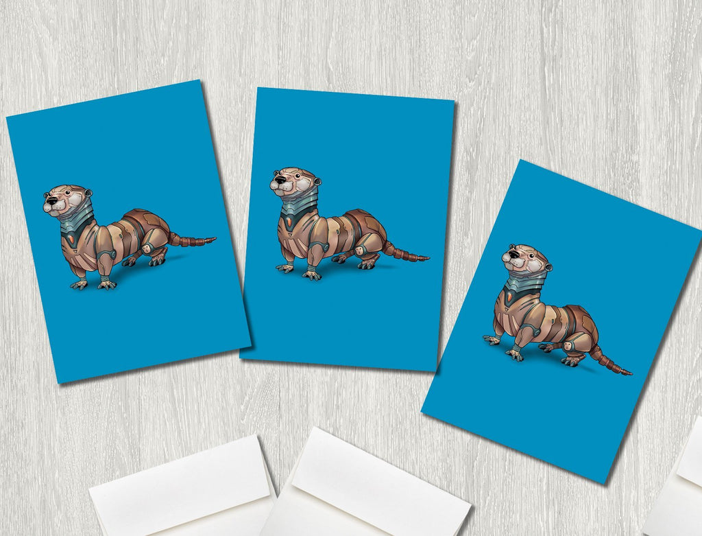 """Otter Robot"" Premium Greeting Card(s) Featuring Art by Dan Pearce - Dan Pearce Creative Shop"
