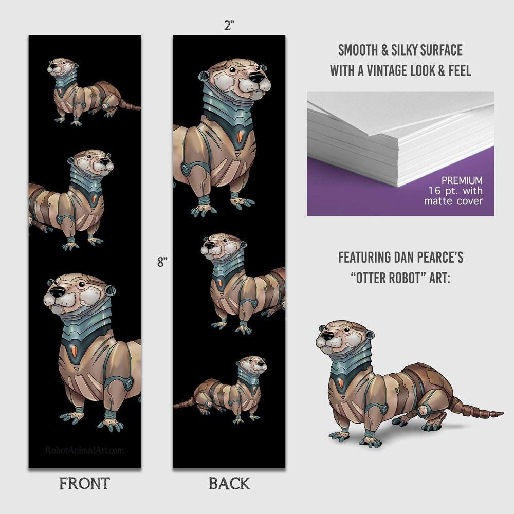 """Otter Robots"" Premium Bookmark Featuring Art by Dan Pearce - Dan Pearce Creative Shop"