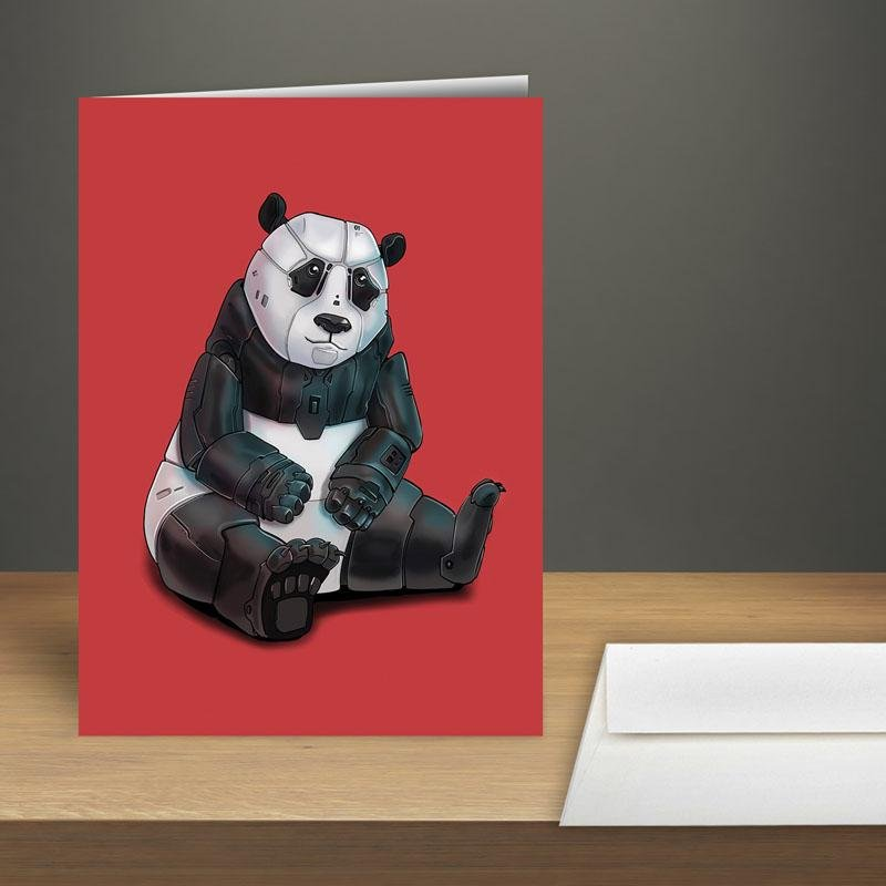 """Panda Bear Robot"" Premium Greeting Card(s) Featuring Art by Dan Pearce - Dan Pearce Creative Shop"