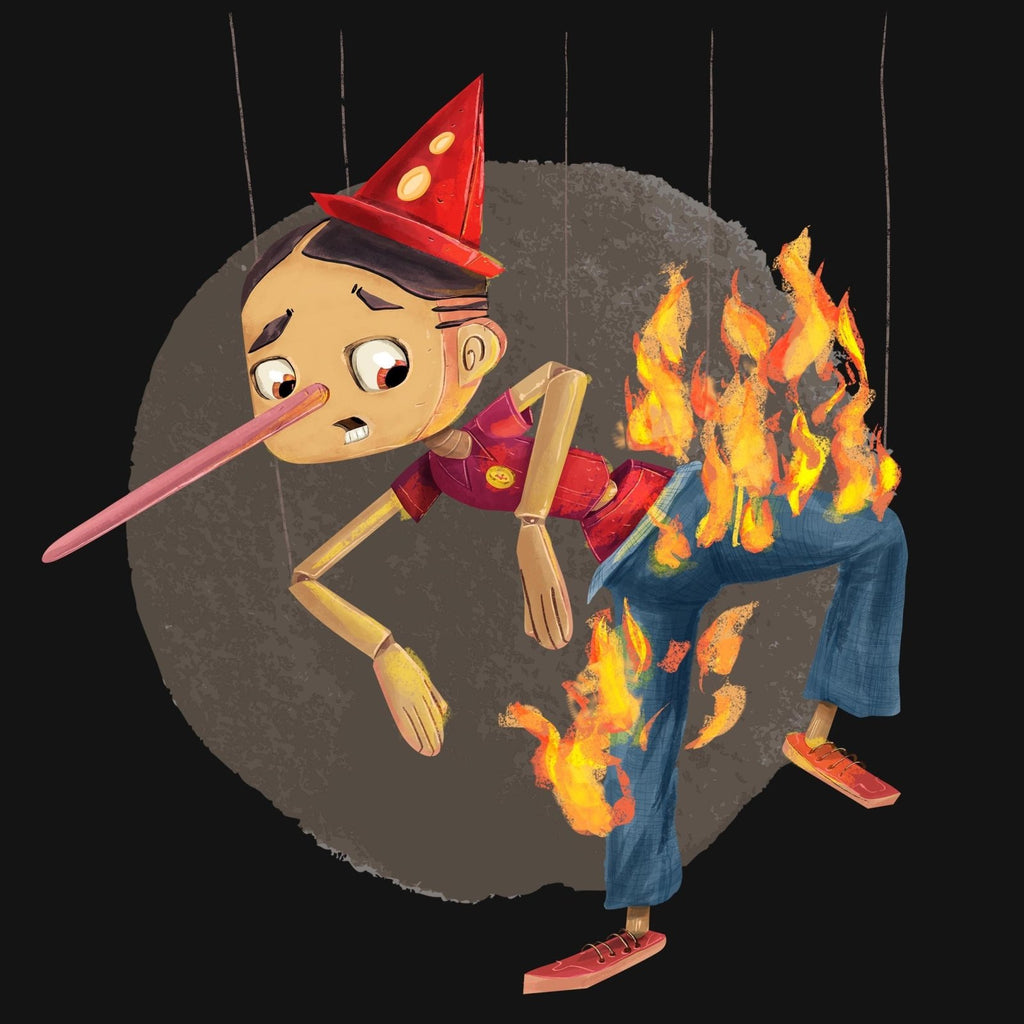 """Pants on Fire"" Pinocchio Premium T-Shirt - Dan Pearce Creative Shop"