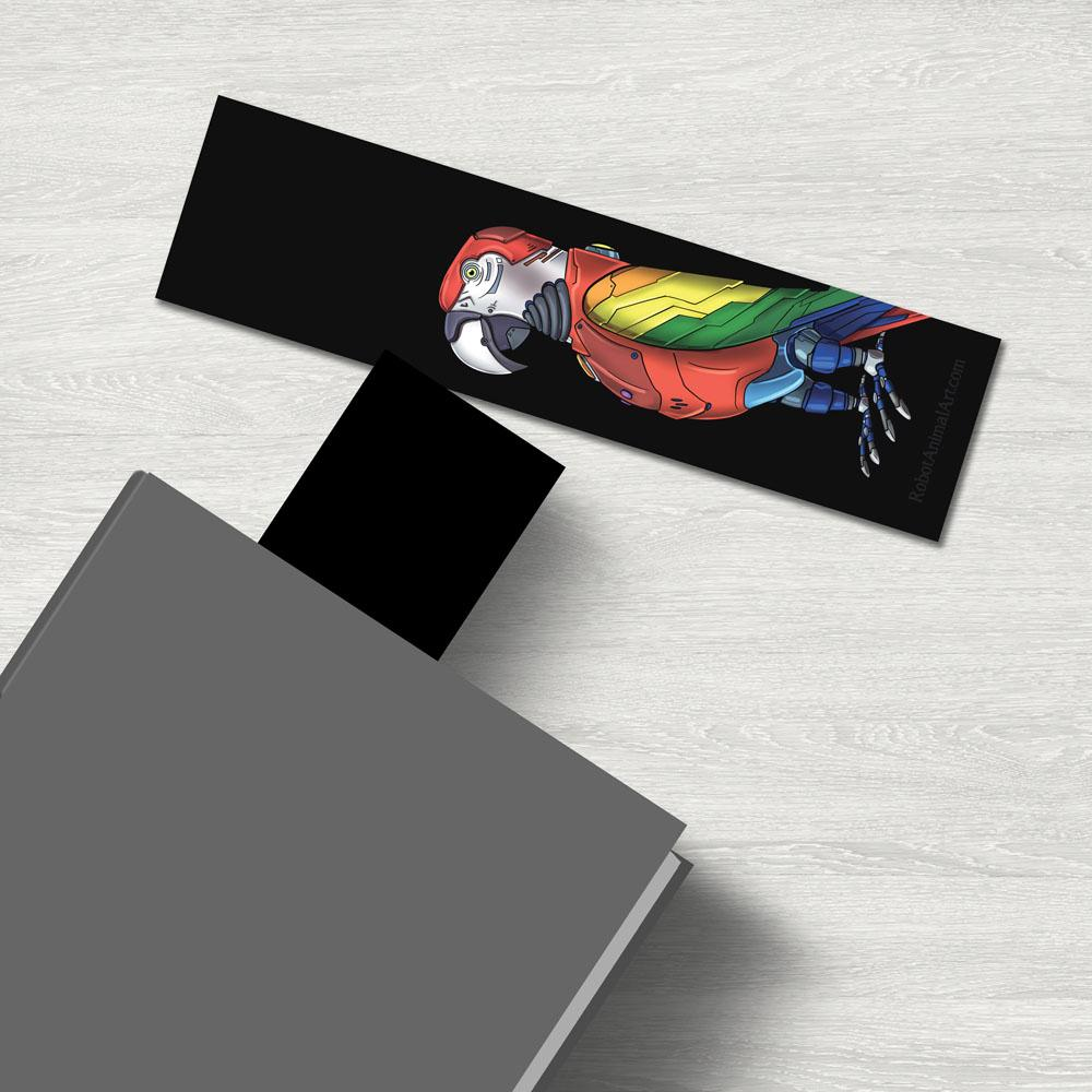 """Parrot Robot"" Premium Bookmark Featuring Art by Dan Pearce - Dan Pearce Creative Shop"
