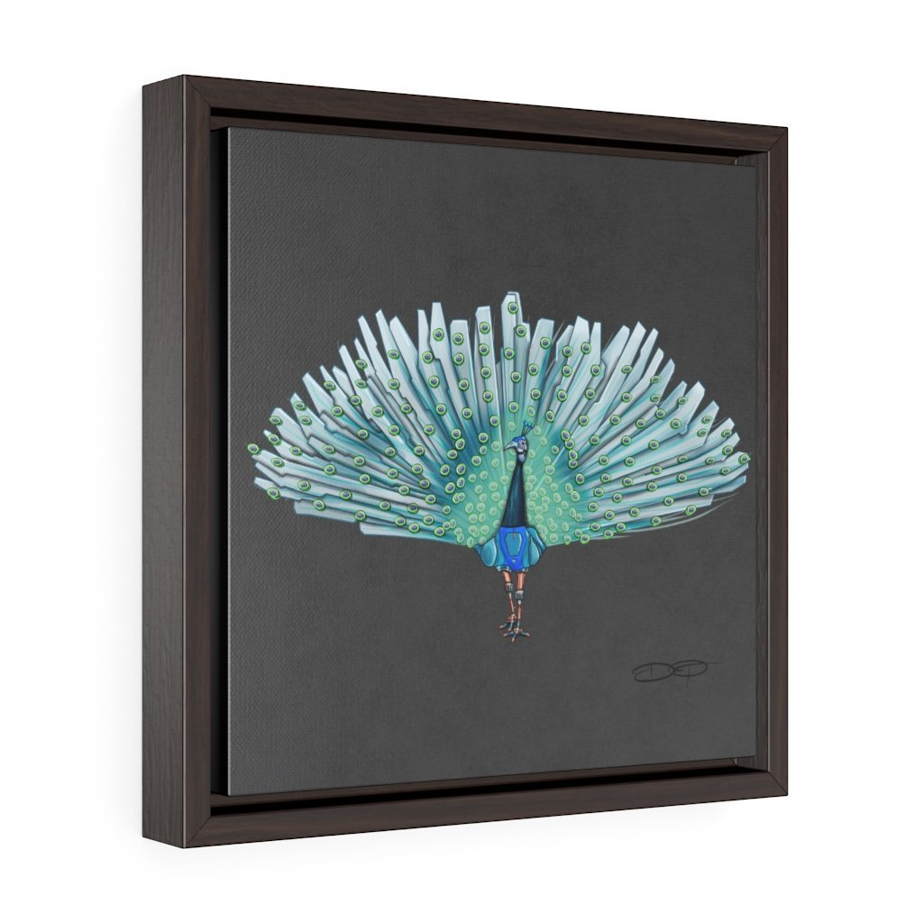 """Peacock Robot"" Art (Square) Framed Premium Gallery Wrap Canvas - Dan Pearce Creative Shop"