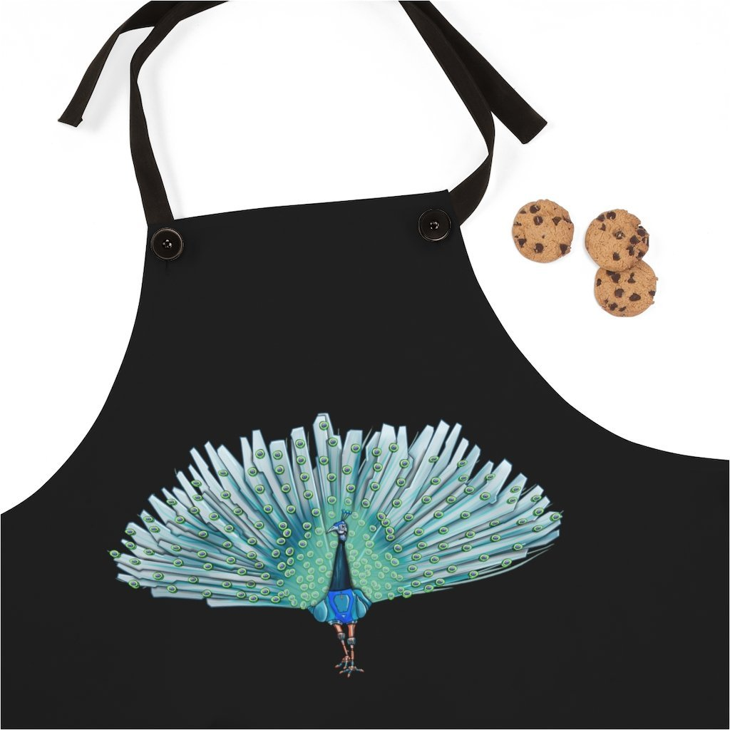 """Peacock Robot"" Cooking Apron Featuring Art by Dan Pearce - Dan Pearce Creative Shop"