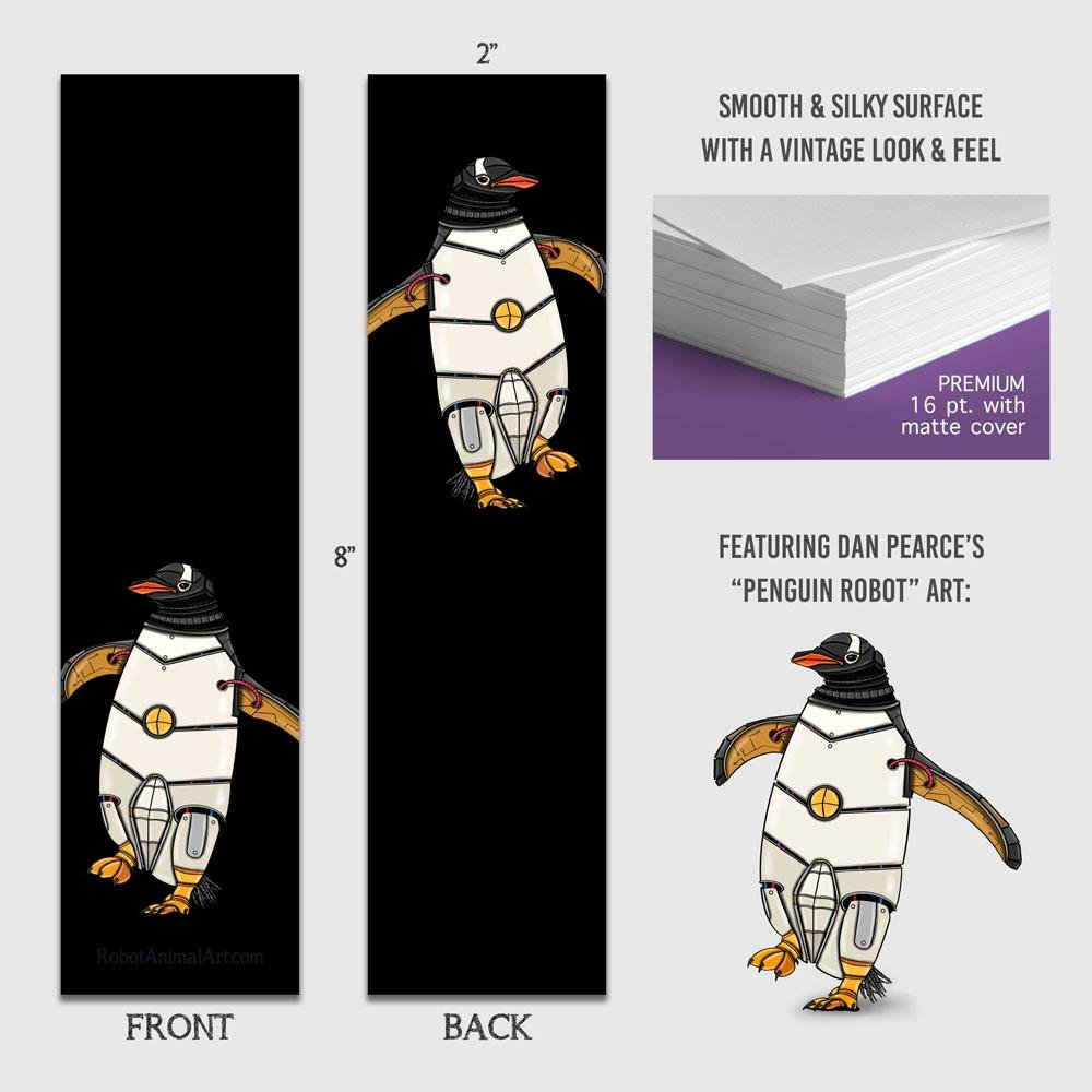 """Penguin Robot"" Premium Bookmark Featuring Art by Dan Pearce - Dan Pearce Creative Shop"