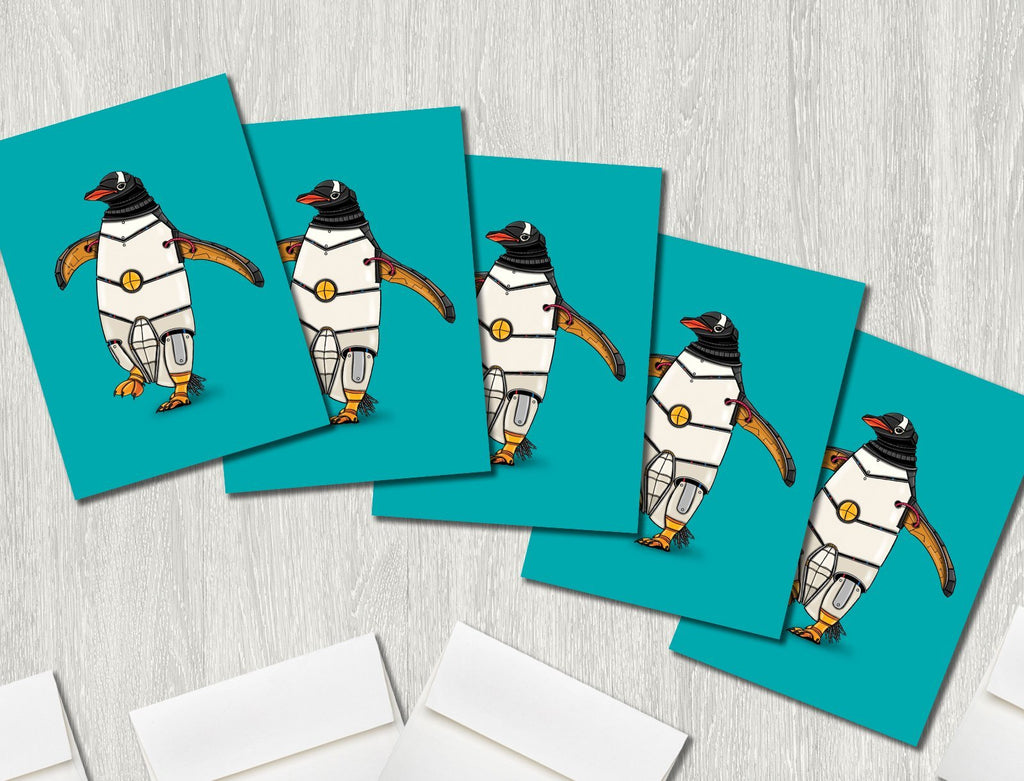 """Penguin Robot"" Premium Greeting Card(s) Featuring Art by Dan Pearce - Dan Pearce Creative Shop"