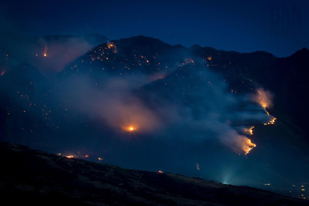 Photo Print: A Smokey Mountain Fire at Night - Dan Pearce Creative Shop