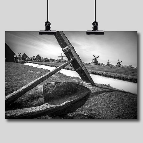 Photo Print: An Antique Anchor with Netherlands Windmills