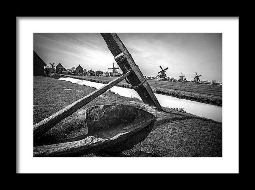 Photo Print: An Antique Anchor with Netherlands Windmills - Dan Pearce Creative Shop