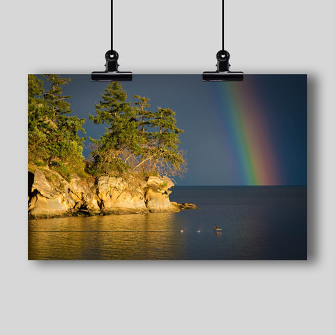 Photo Print: Island Rainbow with Duck Flying Through