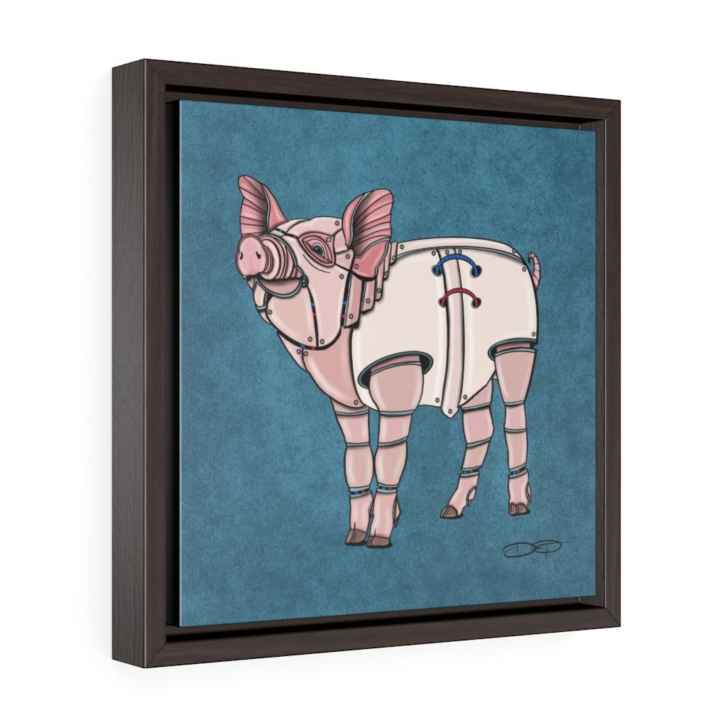 """Pig Robot"" Art (Square) Framed Premium Gallery Wrap Canvas - Dan Pearce Creative Shop"