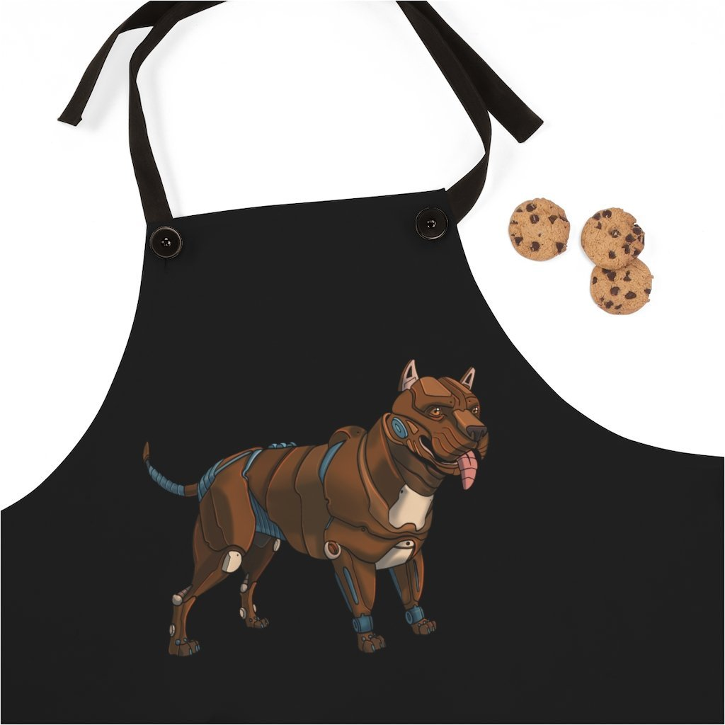 """Pitbull Terrier Robot"" Cooking Apron Featuring Art by Dan Pearce - Dan Pearce Creative Shop"